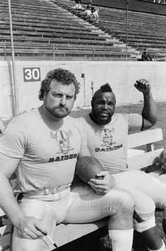 """John Matuszak (Oakland Raiders) and Mr. Matuszak played Sloth in the movie 'The Goonies'. Nfl Raiders, Oakland Raiders Football, Raiders Baby, Raiders Players, Nfl Football Players, Football Memes, John Matuszak, American Football League, National Football League"