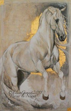 Yeguada Aimaran - Our Stallions Gold Leaf Art, Gold Art, Horse Artwork, Horse Drawings, Equine Art, Animal Paintings, Portrait Art, Art Pictures, Design Art