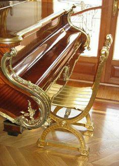 Artistically Engraved #BrownandGold Grand Piano