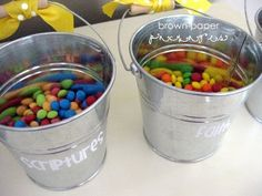 General Conference Activities for Kids- treat buckets. Put a target word on the bucket and every time kids hear the word they grab candy out of that bucket.  Load them up on sugar during conference.  *perfect* :)