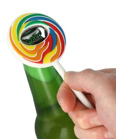 Crack open a cold one! Perfect for parties, this rainbow-colored, lollipop-shaped bottle opener is a total conversation piece.