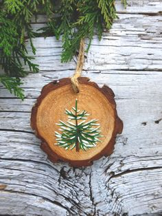 Snow-capped Fir Tree: Rustic Tree Ornament by AliceCEades on Etsy