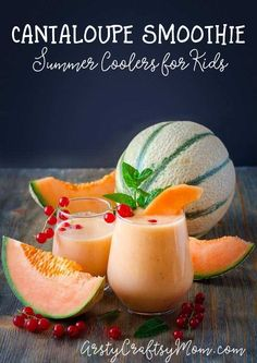 Healthy Cantaloupe Banana Smoothie It's normal for kids to lose their appetite during summer. This Healthy Cantaloupe Banana Smoothie is nutritious and yummy, and perfect for a hot day! Cantaloupe Smoothie, Smoothie Bowl, Smoothie King, Juice Smoothie, Smoothie Drinks, Smoothies For Kids, Good Smoothies, Healthy Shakes, Smoothie Recipes