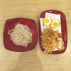 Soba with egg and enoki.