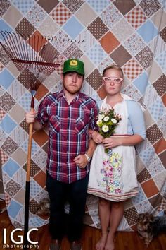 This could be our photo booth...quilt background or some kind of flag, and then have props...trucker hats, teeth, overalls, racoons?