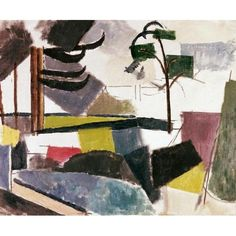 Unfinished Landscape With Tree Branches by Roger De La Fresnaye Abstract Art Print