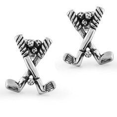 925 Sterling Silver Golf Club and Ball Earrings