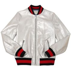 Gucci Kids-girls Metallic Nappa Leather Bomber Jacket ($1,510) ❤ liked on Polyvore featuring silver