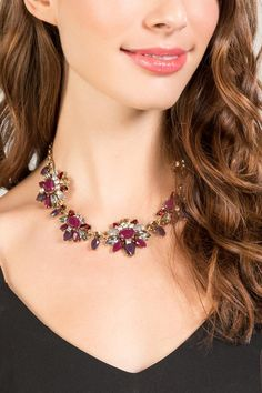 Heather Statement Necklace in Wine- Wine model