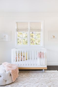 Alyssa Rosenheck - Amanda Barnes Interior Design - White and gray nursery features a Oeuf Classic Crib placed under windows dressed in light gray roman shades flanked by baby animal art by The Animal Print Shop. Nursery Room, Girl Nursery, Nursery Decor, Nursery Ideas, Bedroom Ideas, Baby Girl Nusery, Ballerina Nursery, Disney Nursery, Baby Bedroom