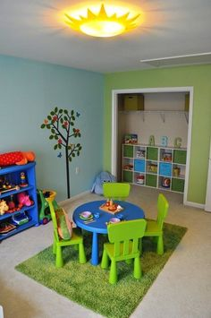 Nature Inspired Playroom, We had a great time creating this playroom for our daughter. I liked the idea of using nature inspired elements (sun light fixture, green grass like rug, tree murals on the w