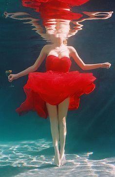 red dress underwater | Tracy Kahn | Flickr