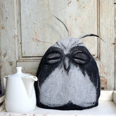 Felted teapot cozy felt owl tea cozy teapot cosy Art tea cosy gift for tea drinker, tea warmer, contemporary cozy, modern cozy,