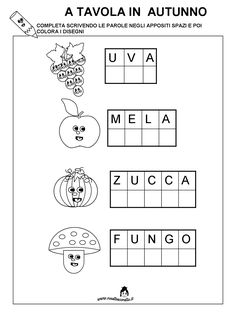 Pregrafismo Autunno Preschool Writing, Preschool Worksheets, Autumn Activities, Activities For Kids, Italian Lessons, Italian Phrases, Kids And Parenting, Middle School, Math