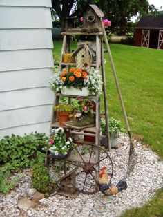 Old ladders reach new heights in the garden - Jean Butcher Morrow's Old Ladder
