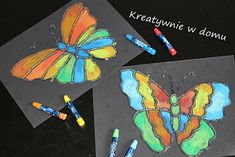 text that says 'Kreatywnie w domu'You can find Butterfly crafts and more on our website.text that says 'Kreatywnie w domu' Butterfly Crafts, Spring Crafts, Craft Fairs, Triangle, Crafts For Kids, Sayings, Diy, Relationship, Website