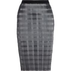 Alexander Wang Pinstriped plissé-satin pencil skirt ($184) ❤ liked on Polyvore featuring skirts, pencil skirt, grey, gray skirt, stretch satin skirt, pinstripe skirt, gray pencil skirt and grey skirt