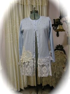 Shabby Sweater Altered romantic victorian by TatteredDelicates, $100.00