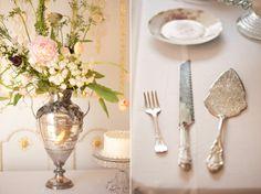 Vintage silver wedding details.