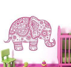 Wall Decal Elephant Vinyl Sticker Decals Home Decor Murals Indian Elephant Floral Pattern Mandala Tribal Buddha Ganesh Yoga Bedroom Dorm AL5