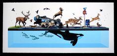 """Stampede"" by Josh Keyes. All kinds of crazy animal life. #keyes"