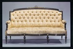 This sofa is part of a suite of Louis XVI–style furniture that John Taylor Johnston (1820–1893) purchased from the firm of Ringuet-Leprince and L. Marcotte in about 1856. This international firm had showrooms in both Paris and New York, and it is believed that at least some of the pieces of the suite were made in Paris for the New York commission