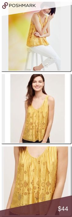 """Anthropologie Sadie Tank Anthropologie Vanessa Virginia Eyelet Tank in Maize - Viscose, cotton Eyelet detail Pullover styling Hand wash Imported Style No. 4110317999999 Dimensions Regular: 23""""L Anthropologie Tops Tank Tops"""
