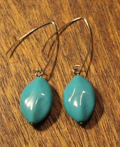 Oval Teal Bead - Angular Wire Earrings by APromisedHope on Etsy