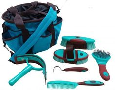 TEAL 6 Piece Soft Grip Horse Grooming Kit w/ Nylon Carrying Bag! NEW HORSE TACK! #Showman