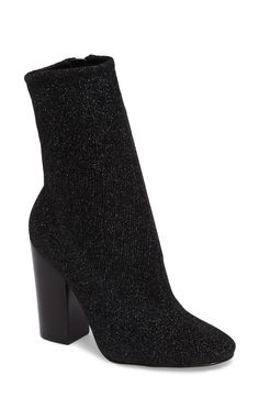 0d112fc7268 Dial up the drama in this block-heel glitter bootie made from ribbed fabric  for a sock-like fit. Brand  KENDALL AND KYLIE. Style Name  Kendall + Kylie  ...