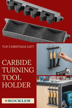 Keeps your turning tools organized and easily accessible at all times—chain several together to fit all of your tools. These holders make shop organization easy, and are a great gift for your favorite woodworker! Shop top gifts here.  #createwithconfidence #carbide #turning #turningtool #shoporganization Rockler Woodworking, Woodworking Hand Tools, Woodworking Shop, Top Gifts, Gifts For Dad, Top Christmas Gifts, Plywood Panels, Wood Carving Tools, Turning Tools