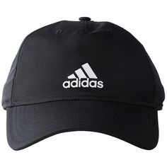 adidas Climalite Lightweight Running Fitness Baseball Cap Hat Black ($17) ❤ liked on Polyvore featuring accessories, hats, upf hat, ball cap hats, logo baseball hats, logo cap and logo baseball caps