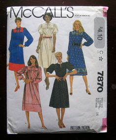 McCalls Pattern 7870 Misses Dress Sz 16 Bust 38 vtg Uncut Mccalls Patterns, Vintage Sewing Patterns, Miss Dress, Cover Up, Trending Outfits, Handmade Gifts, Etsy, Dresses, Fashion