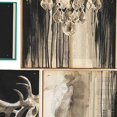This collection comprises old books on which large paintings have been painted, ultimately resulting in 7 designs (5 murals and 2 wallpaper rolls) The middle of this wallpaper is a mural of 3 drops. T