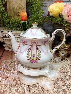 Royal Danube Pink Gold Gilt Floral Teapot Coffee Pot England For Tea Set, Party, Wedding, Bridal or Baby Shower, Gift, Tea Time #064