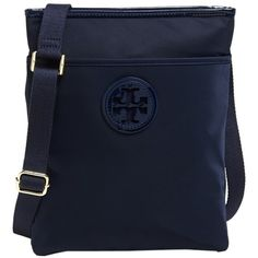 Pre-owned Tory Burch Ella Nylon Swingpack Blue Cross Body Bag ($160) ❤ liked on Polyvore featuring bags, handbags, shoulder bags, blue, nylon handbags, crossbody handbags, crossbody purse, blue handbags and nylon zip pouch