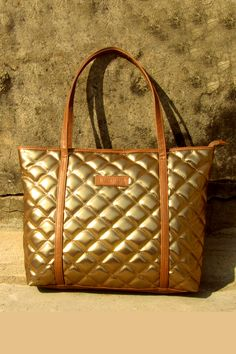 Dark Gold Brown Quilted Tote, Tote Bags, Designer, Latest, Online
