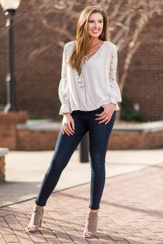"""""""In The Spring Spirit Blouse, Natural""""If this blouse doesn't get you in the spring spirit we just don't know what till! This light cotton blouse is so romantic and boho!  #newarrivals #shopthemint"""