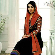 Black Faux Georgette Anarkali Kameez with Straight Pant