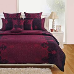 Yuga 3 Piece Set Of King Size Cotton Mauve Bed Sheet With Decorative Pillow Covers Duvet Covers Nz, Duvet Cover Sizes, Bed Covers, Mauve Bedding, Satin Bedding, Bed Sheet Sets, Bed Sheets, Luxury Furniture, Cool Furniture