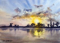 """Watercolor painting for sale. Titled """" Last Light, Maclean, NSW"""" Price: AUD245"""