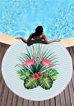 Newest Style Fashion Flamingo Round Beach Towel With Tassels Microfiber Picnic Blanket Beach Cover Up Beach Blanket, Picnic Blanket, Outdoor Blanket, Flamingo Beach Towel, Beach Bunny, Large Beach Towels, Beach Picnic, Beach Accessories, Blanket Cover