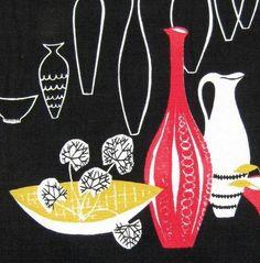 vtg 50s fabric sunlover retro stig lindberg Scandinavian Heals era DIY cushion