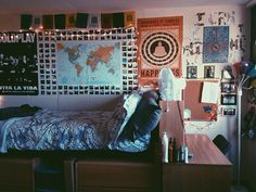 Maps and Magazine Quotes http://www.gurl.com/2015/08/10/bedroom-dorm-room-photos-inspiration-decoration-ideas/