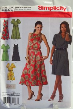 Simplicity 2929 Misses'/Women's Pullover Dress in Two Lengths with Bodice Variations and Tie Belt