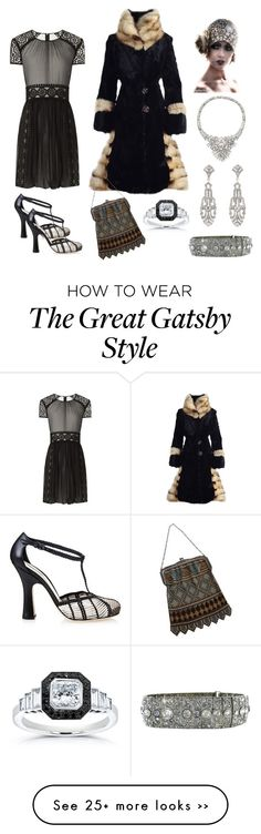 """1920s Rewind"" by karen-galves on Polyvore featuring moda, Burberry, Bottega Veneta, Whiting & Davis, Vintage y Kobelli"