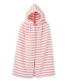 Uniseks badcape met marinestrepen voor baby's wit Lait / roze Merveille - Petit Bateau