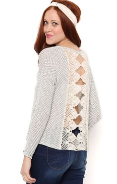Deb Shops long sleeve chevron sweater knit with ladder crochet back patch $24.50