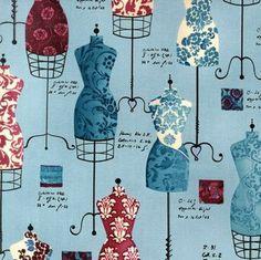 Dress Forms Fabric - Dress Up 2 Vintage Dress Forms by Fabrice De Villeneuve Robert Kaufman AFD 13062 200 - 1/2 yard by FeatheredNest97030 on Etsy https://www.etsy.com/listing/151204265/dress-forms-fabric-dress-up-2-vintage