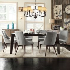 The Sasha collection features gracefully shallow side wings and sloped legs, that adds elegance to the clean lines of this dining accent chair. The dining table is supported by four angled-legs in rich brown finish.